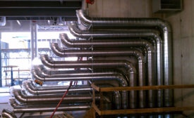 Rows of spiral ductwork