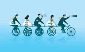 animated project managers on bicycle with gears as wheels