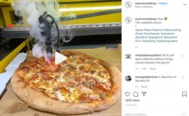 Instagram video of laser cutting a pizza