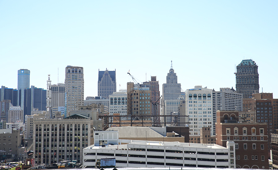 The Detroit skyline from the top of Little Caesars Arena.
