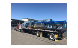 Manifolded ductwork headed to a jobsite.