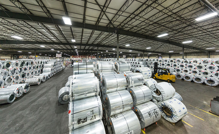 Coils of steel at a Majestic Steel USA facility