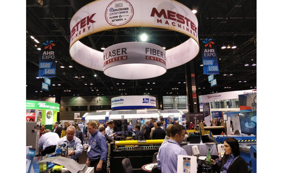 It was busy and loud at the Mestek Machinery booth at the AHR Expo.