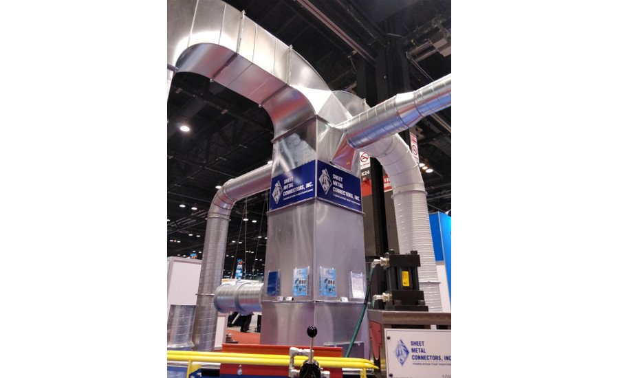 Sheet Metal Connectors erected a huge piece of ductwork to showcase its products.