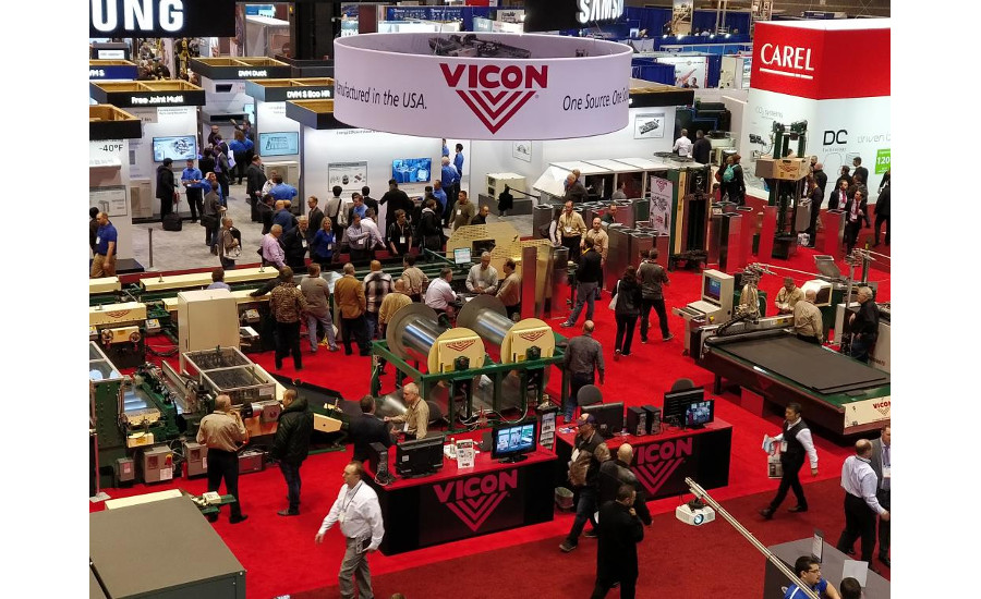 The Vicon booth was full of the company's sheet metal fabrication machinery.