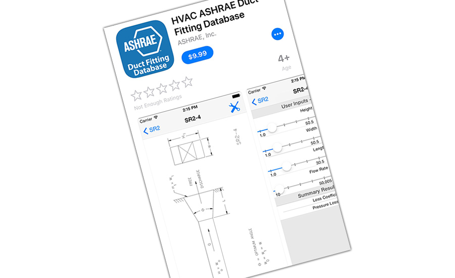 HVAC duct fitting app from ASHRAE.